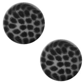 Slider Cabochon Polaris | Plat Leopard Silver Night Antraciet