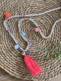 Ibiza / Boho Ketting   Pearls & Pompons Neon