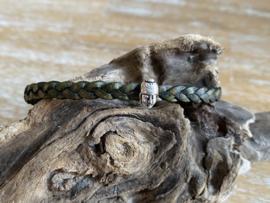 Armband 5mm   Gevlochten   Olijfgroen   Buddha