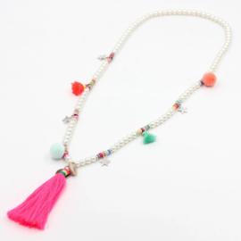 Ketting Boho | Pearls & Pompons Neon