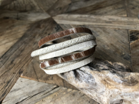 Wikkelarmband | Croco | Beige Brown