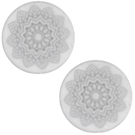 Slider Cabochon Polaris | Plat Mandala Matt White Grey