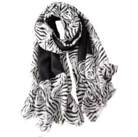 Sjaal Animal Stripes | Zwart