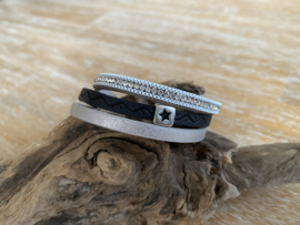 Armband leer mix | Ster | Diamond Zilver