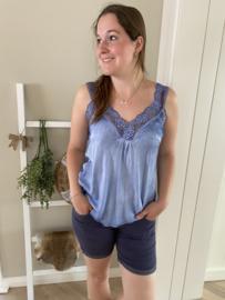Kanten Top Zaza | Jeansblauw