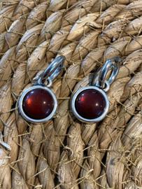 Cabochon oorbellen | Glans | Bordeaux