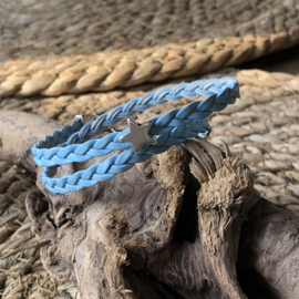 Wikkelarmband | Vlecht enkel | Lichtblauw | Ster