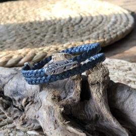 Wikkelarmband | Vlecht enkel | Denimblauw | Veer