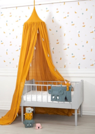 Okergele zwierige luxe klamboe met licht grijze kwastjes - Roommate