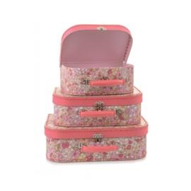 Koffersetje 3 delig -roze bloemen