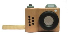 Houten fototoestel met kaleidoscoop