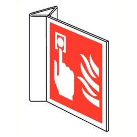 Pictogram brandmelder met vlam haaks