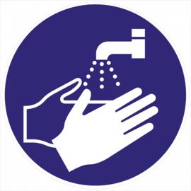 Pictogram sticker handen wassen verplicht 200mm