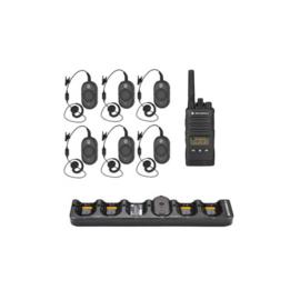 Set van 6 CLP446 met oortjes, multilader en portofoon voor manager