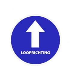 Vloersticker pijl + tekst looprichting Ø200mm