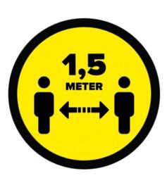 """Vloersticker """"houd afstand"""" geel/zwart Ø300mm"""