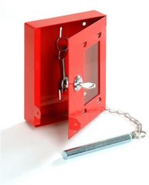Sleutelkluisje rood met preekglas en hamer
