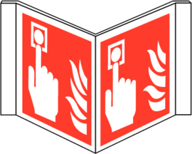 Pictogram brandmelder met vlam panorama