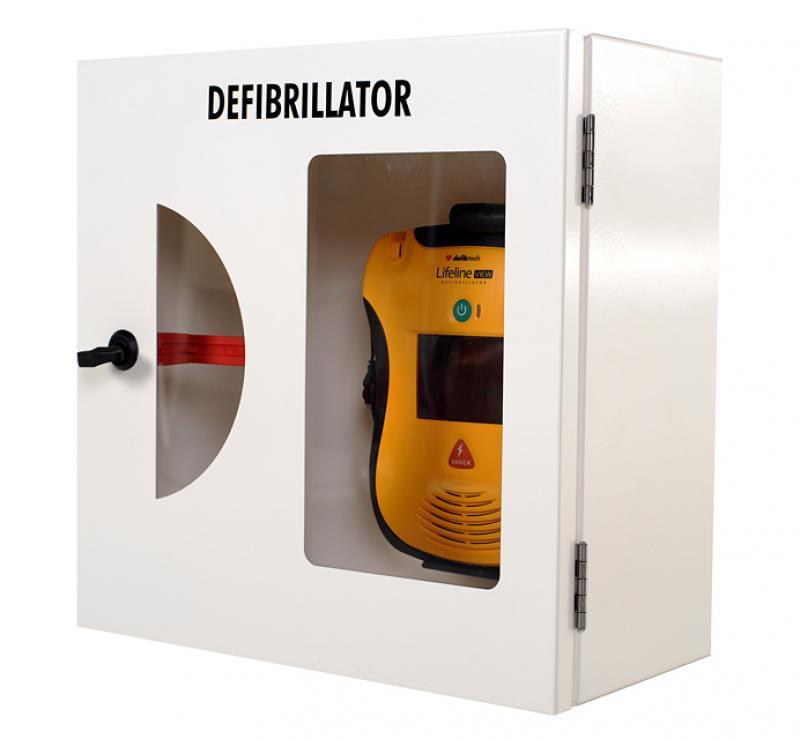 Defibtech AED Wandkast wit met breekglas en alarm