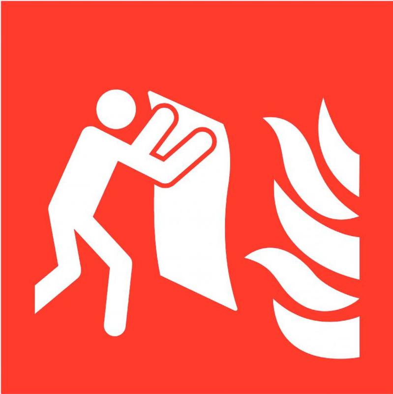 Pictogram blusdeken met vlam