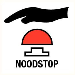 Noodstop 120x120mm sticker