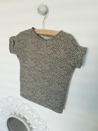 Box tee - leopard zand