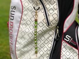 Golf Strokes Zahler aus Leder mit Kristallen - Grün