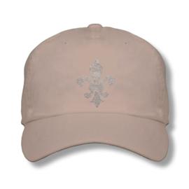 "Dames cap ""Titania"" creme - design lelie van Rhinestones kristallen"