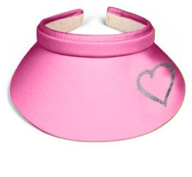 "Dames zonneklep / visor ""Titania"" zacht roze - design hartje van Rhinestones kristallen"