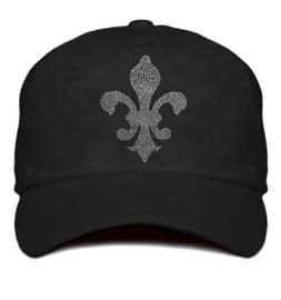 """Damen Cap """"Titania"""" Schwartz - design Lilie (Rhinestones)"""