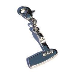 """Reißverschluss Anhänger - """"Fashion Zipper"""" - Golfschläger mit silbernen Strasssteinen"""