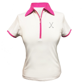 "Dames golfpolo ""Titania"" wit met roze kraag - design Golfclubs"