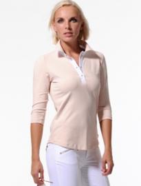 Dames polo MDC Pique - 3/4 mouw - kleur Parelmoer/Wit