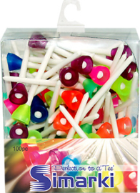 Golftees Simarki – wit mix (74 mm – xl) 100 stuks