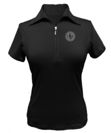 "Damen Golfpolo ""Titania"" Schwarz - design Swarovski LLsport Logo"