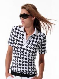 Dames polo MDC Meryl Print - 1/2 mouw - kleur Zwart/Wit