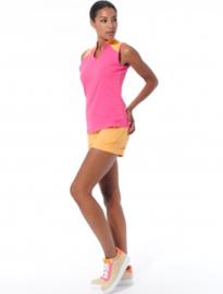Dames Polo MDC Meryl - mouwloos- Flamingo roze/Abrikoos