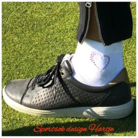 """Weissen Damen Golfsocken mit Swarovski Design """"Hertz"""""""