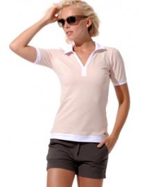 Dames polo MDC Meryl - 1/2 mouw - kleur Parelmoer/Wit