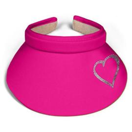 "Dames zonneklep / visor ""Titania"" fuchsia roze - design hartje van Rhinestones kristallen"