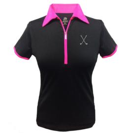 """Damen Golfpolo """"Titania"""" Schwartz mit Roza Kragen - design Golfschläger"""