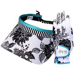 """Set Damen Golf Handschuhe und Visor """"Glove It"""" - design B/W Rose"""