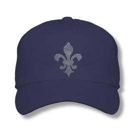 """Dames cap """"Titania"""" donker blauw - design lelie van Rhinestones kristallen"""