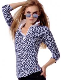 Dames polo MDC Meryl print - 3/4 mouw - kleur Navy Blauw/Wit