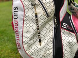 Golf Strokes Zahler aus Leder mit Kristallen- Schwarz