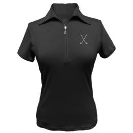 """Dames golfpolo """"Titania"""" zwart – design Golfclubs"""