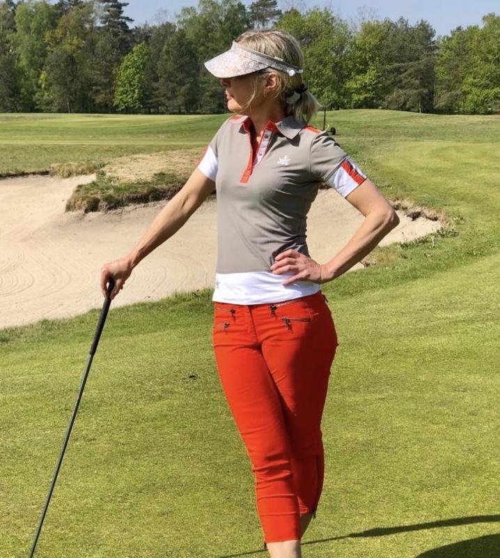 Dames broek MDC Stretch  -  7/8 lengte -  kleur Rood/Oranje