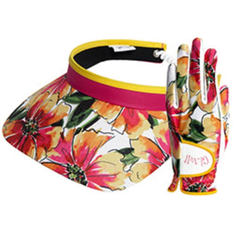 """Set dames golfhandschoen en zonneklep /visor- """"Glove it"""" Sangria"""
