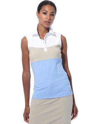 Dames polo MDC Meryl - mouwloos -Licht blauw/Wit/Licht taupe