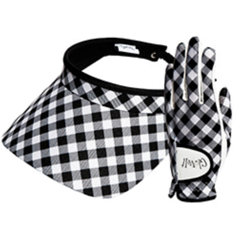 "Set dames golfhandschoen en zonneklep / visor-  ""Glove it"" Checkmate"